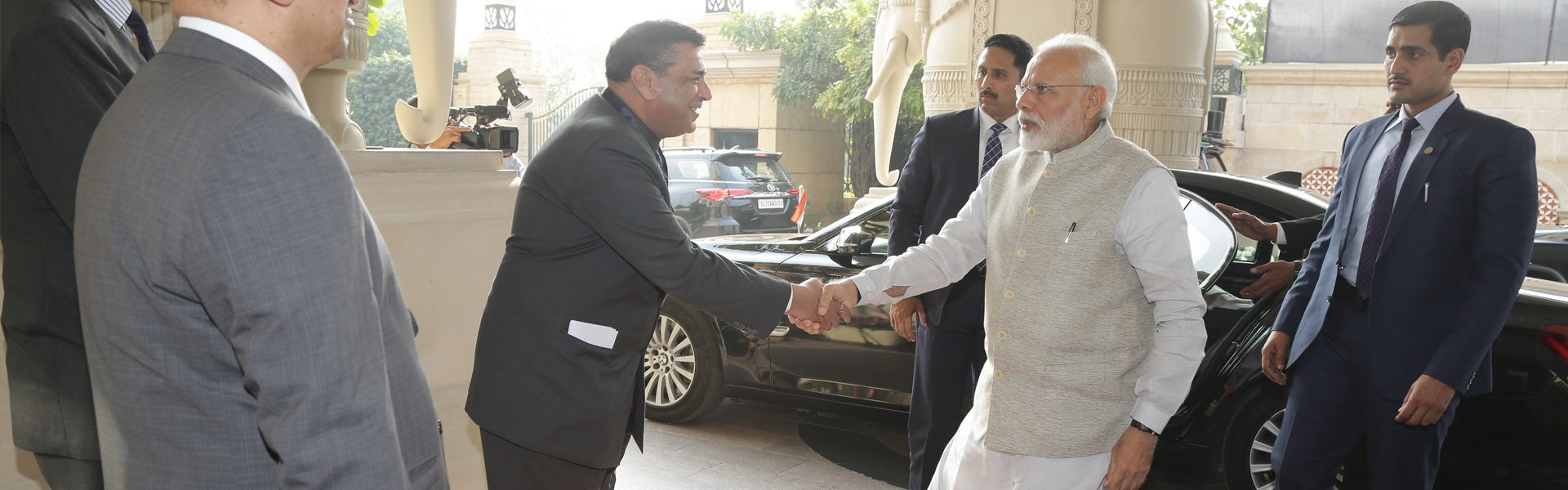 Dr. T.C.A. Raghvan, DG, ICWA welcoming Shri Narendra Modi, Prime Minister of India at the first IBSA Gandhi-Mandela Memorial Freedom Lecture by H.E. Mr. Matamela Cyril Ramaphosa, President of the Republic of South Africa, New Delhi, 25 January, 2019.