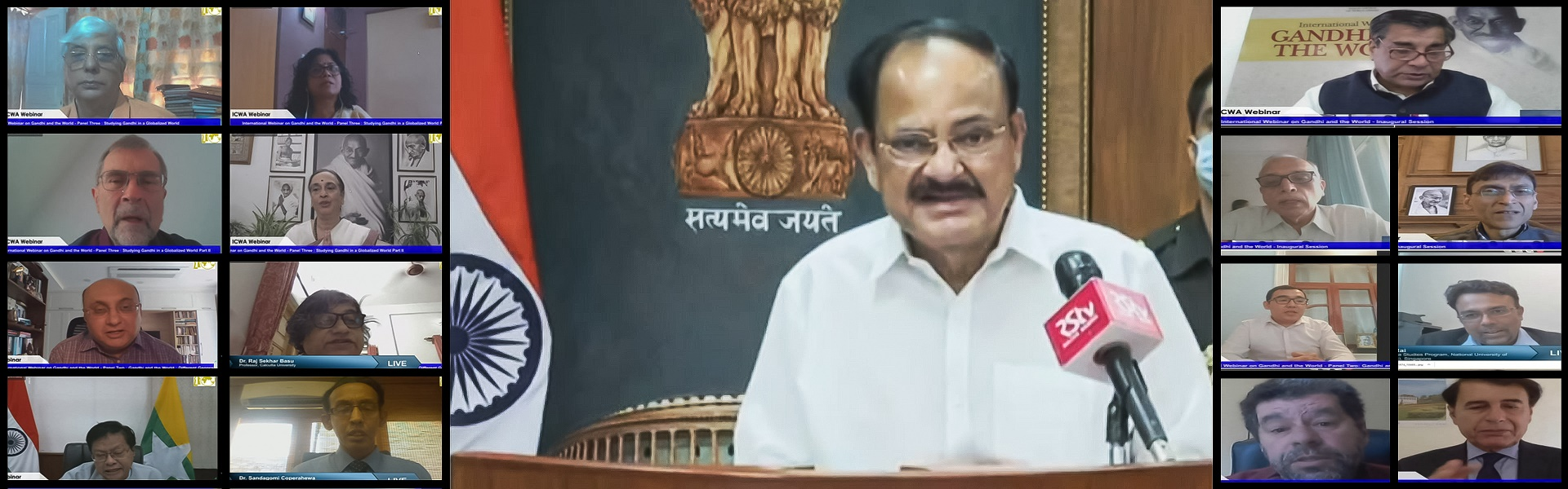 Shri M. Venkaiah Naidu, Hon'ble Vice President of India and President ICWA, delivering the Valedictory Address at the ICWA International Webinar on 'Gandhi and the World', 2 October 2020